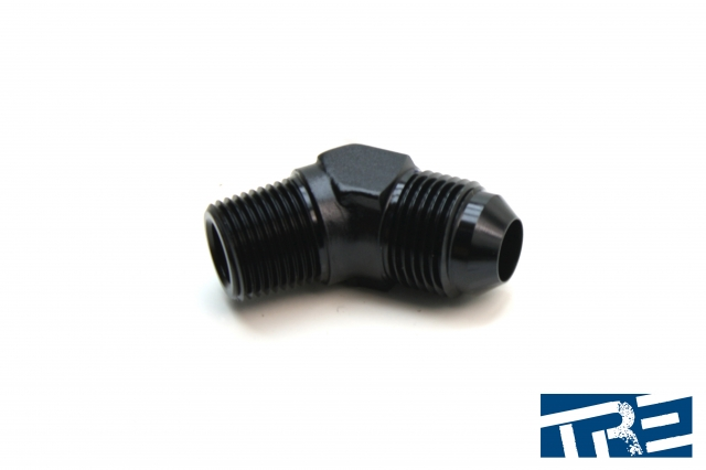 """8AN to 3/8"""" NPT 45 Degree Adapter"""