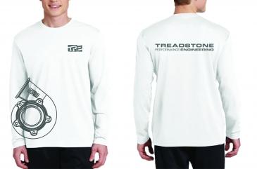 Treadstone T-Shirt Turbine Housing CAD Long Sleeve - White / Gray